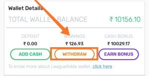 How to withdraw money from LeagueAdda Fantasy Crickets Apps:
