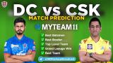 DC vs CSK MyTeam11 Fantasy Team Prediction Match-34 IPL 2020