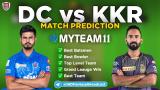 DC vs KKR MyTeam11 Fantasy Team Prediction Match-16 IPL 2020